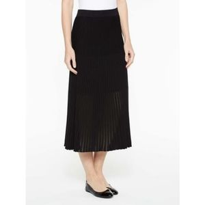 Exclusively Misook Black Long Pleated Knit Skirt